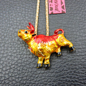 New Betsey Johnson Red Gold Enamel Cute Bull Pendant Chain Necklace/Brooch