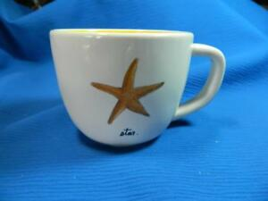 Rae Dunn Magenta Starfish Nautical Mug Coffee Cup Yellow Inside ~ NEW