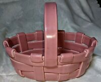 Vintage Woven Ceramic Pottery Oval Basket with Handle Made in Italy VDay Easter