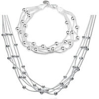 "18K White Gold Plated Bubble Necklace and Bracelet Set ITALIAN MADE 7.8"" and 18"""