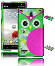 For LG Optimus L9 P769 Pink & Green Cute Owl Rubberized Hard Snap On Case Cover