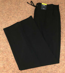 M&S Size 16 Regular Black Wide Leg Pull on Trousers with Stretch Free Postage