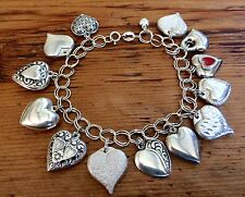 STERLING SILVER PUFFY HEART CHARM BRACELET ~ 14 CHARMS ~ 7.5""