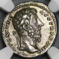 168 NGC Ch XF Star Marcus Aurelius Roman Empire Denarius Liberalitas (19050202C)