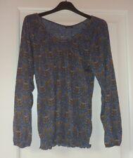 MOTIVI maglia fantasia blu ocra azzurro taglia comoda maniche lunghe blusa donna