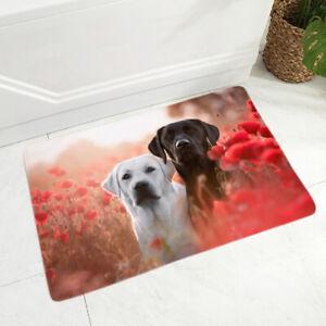 Labrador Dog Pet Floor Door Mat Kitchen Room Carpet Animal Non-Slip Soft Flannel