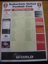 26/02/2006 Colour Teamsheet: At Rotherham United - All-Stars v The Fans - Lists