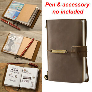 Refillable Vintage Real Leather Travel Notepad Notebook Note Book Journal Diary