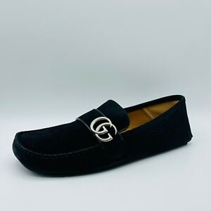 Gucci Noel Mens Marmont Black Suede Silver Metal GG Loafer 9G/US 9.5 473768 1000