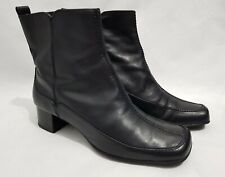 Clarks Ankle Boots Black Leather Block Heel UK 5 D Square Toe Side Zip