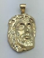 14k Yellow Gold Jesus Christ Face Crown Thorns Religious Charm Pendant 8.1 grams