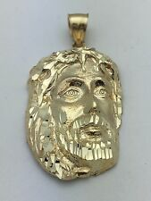 14K Yellow Gold Jesus Christ Face Crown Thorns Religious Charm Pendant 8.1 g