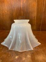 Victorian Art Nouveau Opalescent Milk Opaline Ruffled Rim Bell Glass Lamp Shade