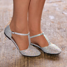 78a737fb1f0 Women Diamante Rhinestone Ballet Shoes Flats T Bar Pumps Prom Wedding  Evening