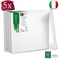 Artina Set da 5 Tele per Pittura 15x15 cm Serie Akademie - 100% Cotone Bianco