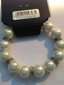 Cream Pearl Beads & Glass Crystal Bracelet Wedding Party Bridesmaid(BL9703)