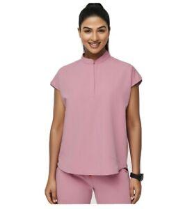 Figs Scrubs Chalk Pink Rafaela Mandarin Collar Scrub Top XS Limited Edition