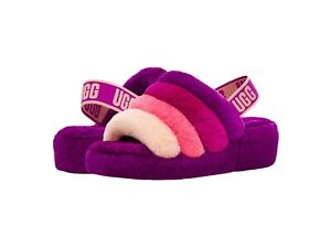 Women's Shoes UGG FLUFF YEAH SLIDE Sheepskin Slippers 1097169 BERRYLICIOUS MULTI