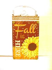 Metal Fall Is Here Wood Sunflower Button Sign Halloween Decoration Hanging