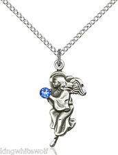 Guardian Angel September Sapphire Birthstone Pendant Necklace SS Chain by Bliss