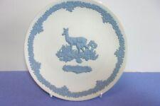 "Wedgwood Jasperware Mothers Plate 1979 Deer & fawn Blue/White 6 1/2"""