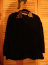 Black velvet velour button down shirt leopard print collar Large Victoria Jones