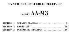 AKAI AA-M3 Ricevitore Stereo Synth MANUALE DI SERVIZIO Inc schems Stampato inglese