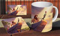 Lion King Simba Artwork Ceramic Coffee MUG + Wooden Coaster Gift Set