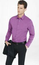 New Express Mens 1MX Extra Slim Fit Dress Shirt Semi Solid Purple Size L LARGE