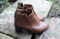 RUBI Cuban Elasticated Ankle Boots Light Brown  Size 36/5