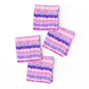 Cocktail Napkins Watercolor Stripes Kid' Room Purple Abstract Colorful Set of 4