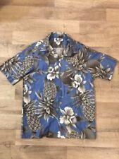 Hilo Hattie Hawaiian Aloha Shirt Made In Hawaii Blue White Large 100% Cotton