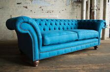 MODERN HANDMADE 3 SEATER TEAL BLUE WOOL CUSHIONED CHESTERFIELD SOFA COUCH CHAIR