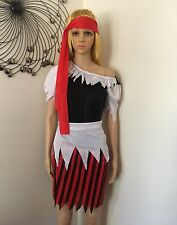 Ladies Pirate Wench Caribbean Buccaneer Beauty Fancy Dress Party Costume