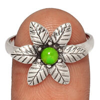 Flower - Copper Green Turquoise 925 Sterling Silver Ring Jewelry s.9 BR40132