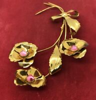 Vintage Sterling Silver Brooch Pin 925 Vermeil Gold Tone Flower Bouquet