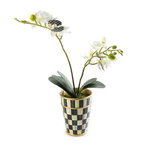 MACKENZIE CHILDS Vase w/ POTTED ORCHID White w/COURTLY CHECK NEW $110 m20-au