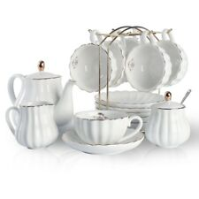 Porcelain Tea Sets British Royal Series, 8 OZ Cups Saucer Service for 6, with Te
