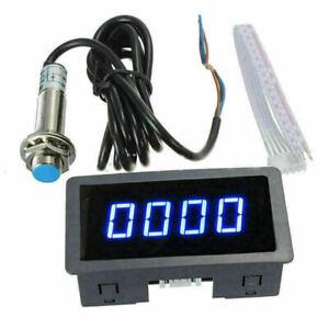 Blau Drehzahlmesser Digital LCD DC 8-24V 30mA 10-9999 RPM Hour Meter Achometer