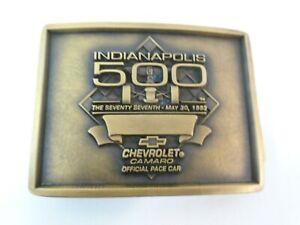 1993 Indianapolis 500 Event Belt Buckle Bronze Chevrolet Camaro Z-28 Pace Car