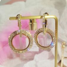 "Dainty Hoop Shiny Dangle Drop Earrings New Women Fashion Jewelry Gold Long 2.75"""