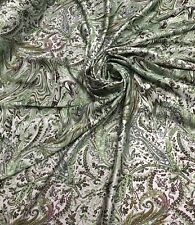 Silky Soft Green Paisley print On Polyester Charmouse fabric Sold by the yard