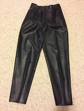 Vintage 1970s Pvc Women's Pants with a Black Leather Look Original Owner