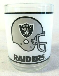 """Vtg NFL Oakland Vegas Raiders Mobil Promo Frosted Drink Cocktail Glass 4"""" EUC"""
