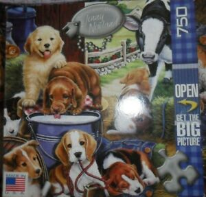 Puppy Hay Day - 750 Pc Puzzle Master Pieces #60715 Jenny Newland - Complete!