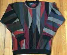 Tundra Mens Sweater Vintage Coogi Style Henley Knit Collar Size Large Multicolor