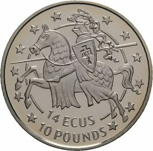 1991 Gibraltar Proof 14 Ecu Knight in Armor on Horseback Charging