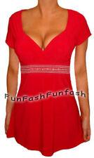 FF1 FUNFASH APPLE RED EMPIRE WAIST TOP SHIRT BLOUSE CLOTHING Plus Size 1X XL 16