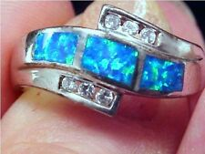 ZUNI GORGEOUS GREEN BLUE OPAL INLAY STERLING SILVER RING-SZ 6.75-6.1 GRAMS