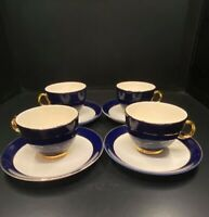 Taylor Smith Taylor - Versatile Golden Wheat Cobalt Blue Cups & Saucers Set of 4